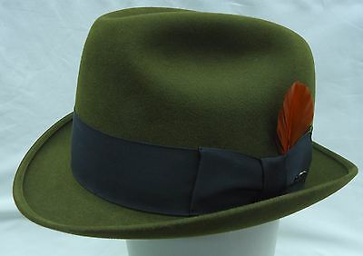 Beautiful Vintage Stetson - Men's Felt Fedora Size 7 1/8 - Olive Green - Pin