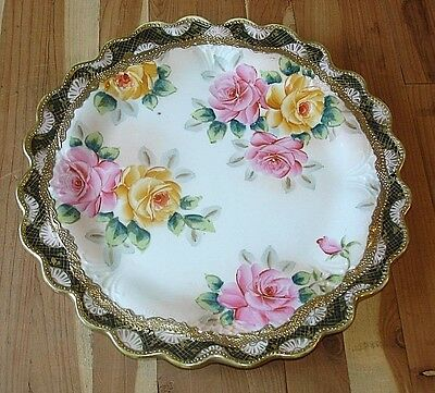 Beautiful Vintage Antique Hand Painted Glass China Plate Roses Gold Leaf Nippon