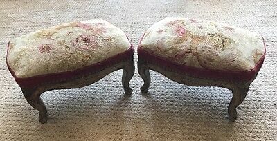 18th Century Aubusson Antique French Tapestry Footstools