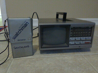 """General Electric 5"""" TV 7-7150B Tested and Working & Vintage Sony Watchman FD-30A"""