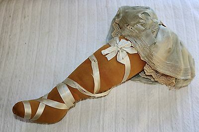 Vintage French Pincushion Can-Can Dancer Leg Ribbonwork Lace Stocking