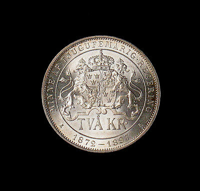 1897 EB Sweden 2 Kronor silver coin Jubilee Uncirculated UNC