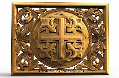 3D STL Models for CNC Router Engraver Carving Artcam Aspire Religion Cross 8104