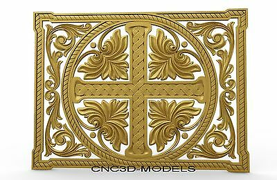 3D STL Models for CNC Router Engraver Carving Artcam Aspire Religion Cross 8105