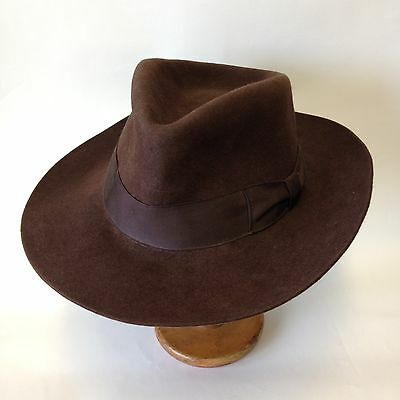 Mens Vtg Wide Brim Fedora 1930s Style Brown Felt Leather Band 58cm 7 1/8 Huckel