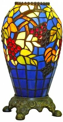 Tiffany-Style Accent Lamp Stained Glass Vase Victorian Urn Elegant Floral Art