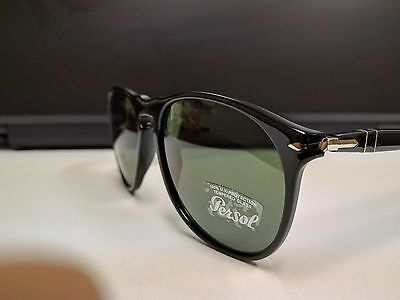 Persol Sunglasses PO 9649S 95/31 Black Green 55 mm NEW & AUTHENTIC
