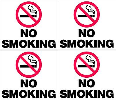 4 High Quality UV Stable NO SMOKING STICKERS. For Office, Home, Car or Boat