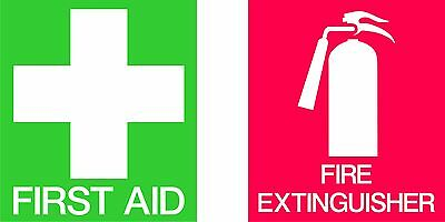 First Aid And Fire Extinguisher Weatherproof Vinyl Stickers For Car Or Office