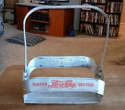 "PEPSI COLA, ""BIGGER AND BETTER"", 1940'S ALUMINUM CARRIER, Double Dot"