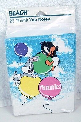 Pack of 25 BABY LOONEY TUNES Birthday THANK YOU NOTES