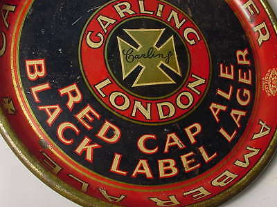 Vintage 1920s  Tin Carling Kuntz Breweries Red Cap London Ale Beer Tray •Union