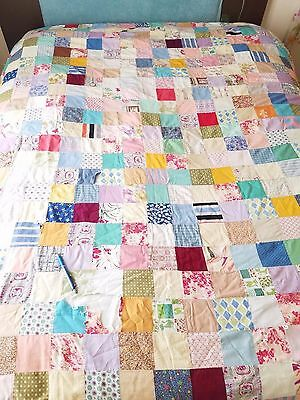 Vintage hand-made Cotton Quilt Twin Patchwork needs repair