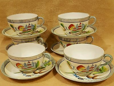 Vintage Handpainted Japanese Lustreware Set of 6 Cups and Saucers (Old)