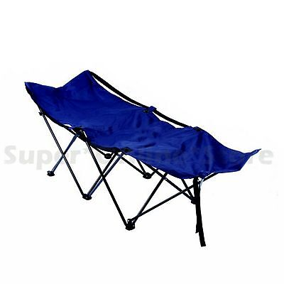 Portable Folding Camping Bed Foldable Outdoor Cot Support 150KG With Carry Bag