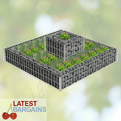 2 Tiered Gabion Planter Garden Bed Plant 2 Planters Pot Wire Mesh Vegetable