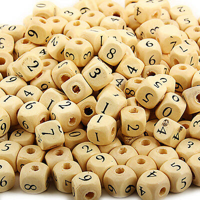 50pcs Cubic Wood Digit Beads Wooden Spacer Charm For DIY Jewelry Makings