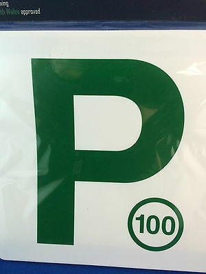 P Plates Magnetic Green on white background set of 2 NSW use only