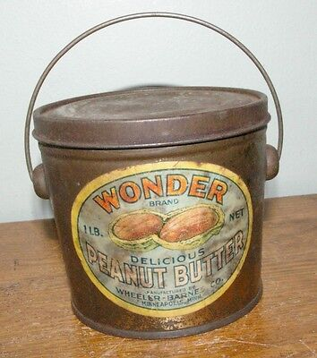 Antique Wonder Peanut Butter 1 lb tin pail Wheeler Barnes Minneapolis