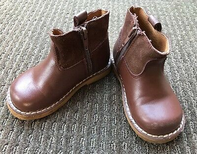 Walnut Melbourne Baby Toddler Boys Brown Boots Size 24 Leather