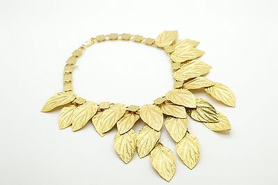 "Vintage Leaf Statement Necklace 16"" Gold Tone Chunky Very Nice! Articulated"