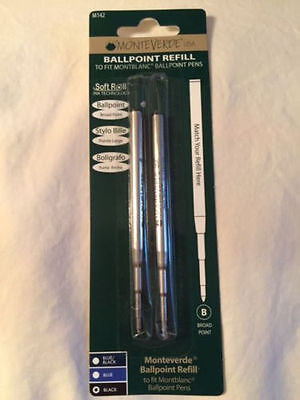 Montblanc By Monteverde Ballpoint Broad Point Refill Black 2 Pack New M142 90425