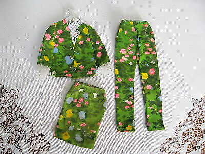 FRANCIE Barbie Green Floral OUTFIT 1965 MATTEL Top jacket Pants & Skirt NEW-MINT