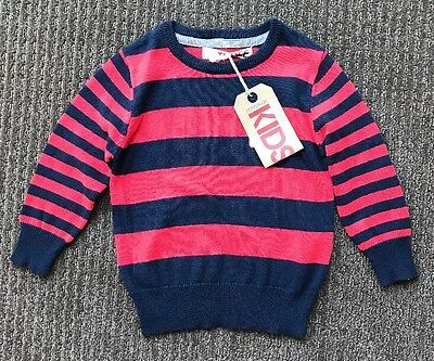 Cotton On Boys Red Blue Stripe Jumper Knit Top Size 3 BNWT New