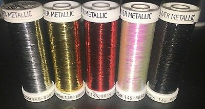 """5 Sulky Silver Metallic """"ribbon Like"""" Threads-Pearl-Black-Red-Silver-Gold"""