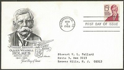 Us Fdc 1968 Oliver Wendell Holmes 15C Stamp Artmaster First Day Of Issue Cover