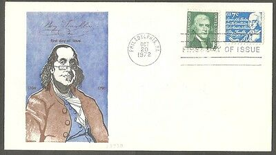 Us Fdc 1972 B Franklin 7C Jefferson 1C Jackson First Day Of Issue Cover