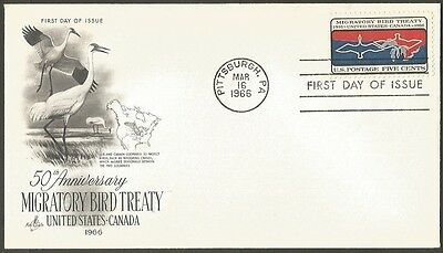 Us Fdc 1966 Migratory Bird Treaty 5C Stamp Art Craft First Day Of Issue Cover