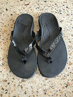 SCHOLL ORTHAHEEL Ladies  Women's Size 5 Black Sandals Thongs Shoes