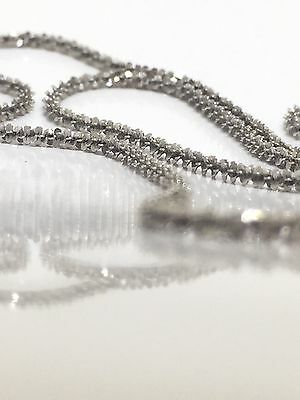SPARKLING 9K 375 Solid White Gold 2mm Twisted Serpentine Chain Necklace 45cm