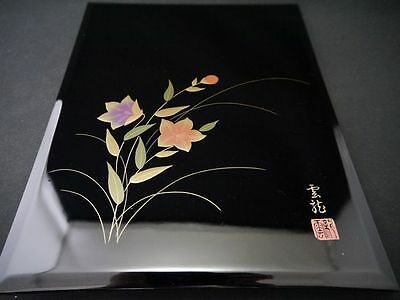 Japanese Traditional Lacquer Wooden Box with BELLFLOWER design in maki-e  (M14)