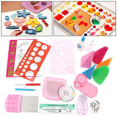 19pc Paper Quilling DIY Craft Tool Full Kit Quilling Work Board Mould Grid Guide