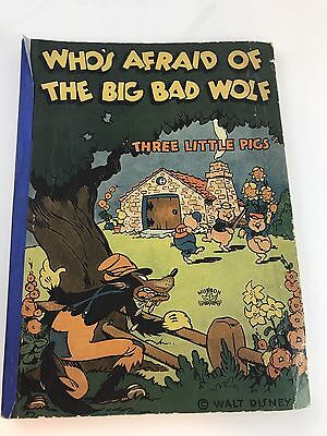 1933 Walt Disney three little pigs Story Book Antique Big Bad Wolf  By musson