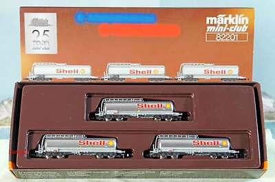 Z Scale Z Gauge Märklin Mini-Club 82201 Shell Jet Fuel Tank Car Set of 3 NIB