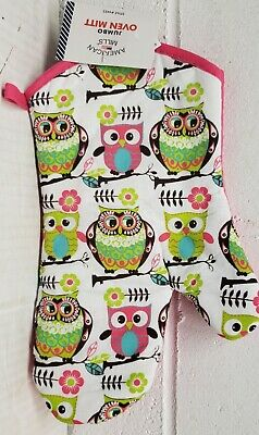 """OWLS with pink back by AM Fabric Printed Kitchen 12/"""" Oven Mitt"""