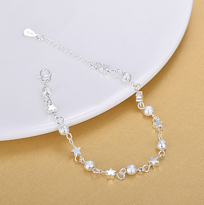 Silver Star Ball Ankle Bracelet Women Anklet Adjustable Chain Foot Beach Jewelry