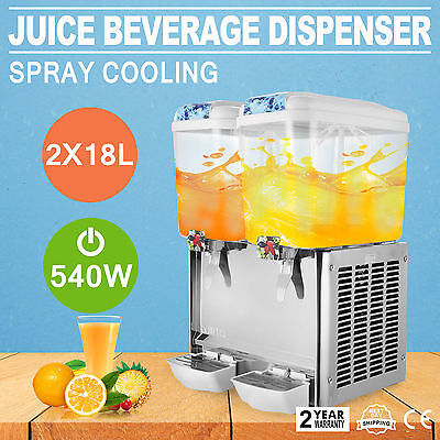 9.5 Gallon Juice Beverage Dispenser Two Tank Bubbler Commercial