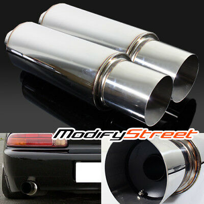 """2Pc 2.5"""" Inlet/4"""" Outlet Stainless Steel Performance Muffler Exhaust/silencer"""