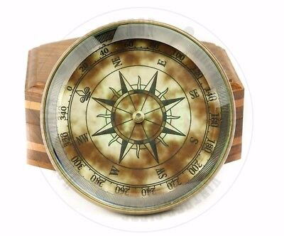 New Vintage Maritime Antique Brass  Compass With Wooden Case Sailors Compass