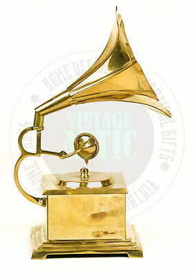 "New Vintage Antique Solid Brass Miniature Gramophone 9"" ,gift Item, Home Decor"
