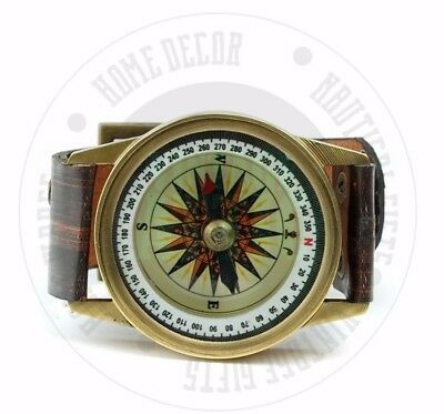 New Vintage Solid Brass Nautical Compass Wrist Watch  Sailors Wrist Compass