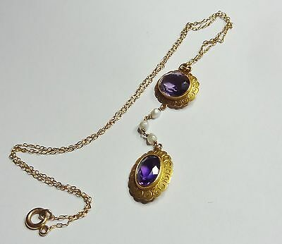 Lovely 14kt Yellow Gold BIRK'S Drop Seed Pearl & Amethyst Antique Necklace