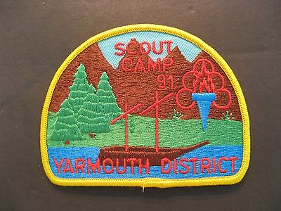 Boy Scouts Canada Scout Camp 1991 Yarmouth District  Embroidered Patch