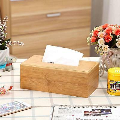 Natural Bamboo Tissue Paper Storage Box Napkin Cover Rectangular Holder S or L