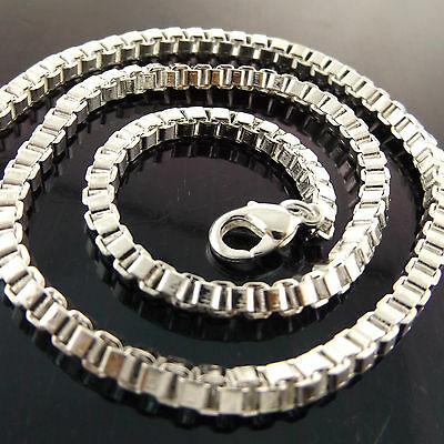 A939 Genuine Real 925 Sterling Silver S/f Solid Unisex Box Link Necklace Chain