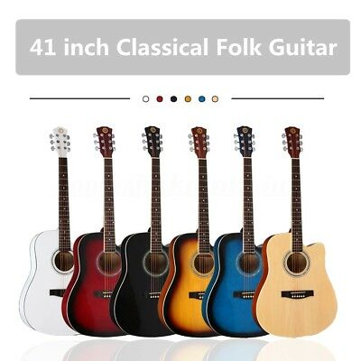 """41"""" Wooden Acoustic Folk Classic Guitar Full Size 21 Frets Basswood with Gig Bag"""